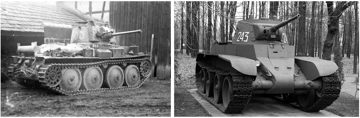 Panzer 38 (t) and BT-7 tanks. The most numerous tanks of Class B