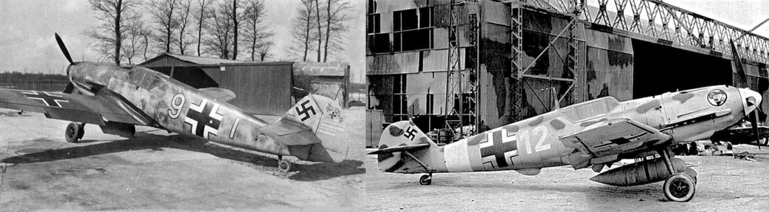 Left Messerschmitt Bf 109F-2 and right, the Bf 109E-7. Both had the same engine, but the former better aerodynamics gave it the edge in speed and climb